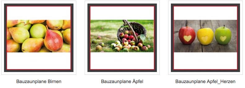 Bauzaunblenden Obst