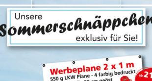 Werbeplane, Roll up, Bauzaunplane